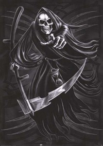 The skeletal Grim Reaper with scythe in hand