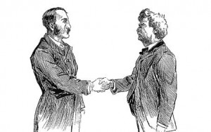 Mark Twain greets a friend with a handshake.